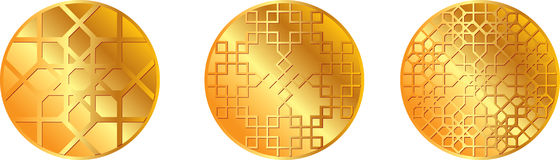 Gold pattern medal Royalty Free Stock Image