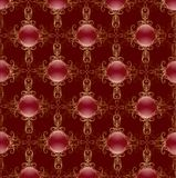 Gold pattern on a red background Stock Photography
