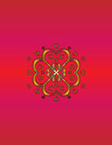 Gold pattern on a scarlet design Royalty Free Stock Images