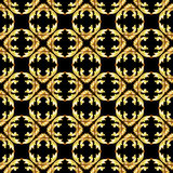 Gold pattern. Seamless golden floral patterns on the black background Royalty Free Stock Images