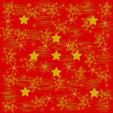 Gold pattern and stars on red Stock Image