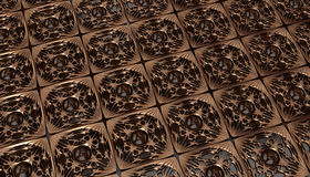Gold pattern on the walnut board. Gold moldings tiles on the wood board. Luxury pattern  background. 3d rendering. 3d illustration Stock Image
