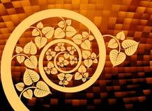 Gold patterned curve branch. Illustration gold patterned curve branch with leaf abstract background royalty free illustration