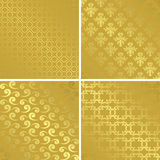 Gold patterns with gradient - set - vector Royalty Free Stock Images