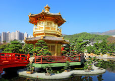 Gold pavilion in chinese garden Royalty Free Stock Photo