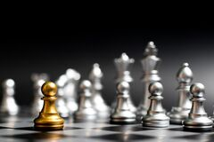 Free Gold Pawn In Chess Game Face With The Another Silver Team On Black Background Concept For Company Strategy, Business Victory Or Royalty Free Stock Photos - 175191128