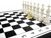 Gold pawn and some white kings - strategy and leadership concept Royalty Free Stock Photos