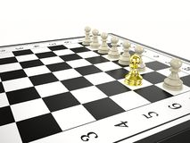 Gold pawn and some white pawns - strategy and leadership concept Royalty Free Stock Photography