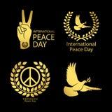 Gold peace day logos set stock illustration
