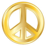 Gold Peace Sign Royalty Free Stock Images