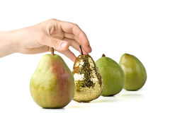 Gold pear Royalty Free Stock Image