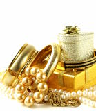 Gold and pearl jewelry, gift boxes Royalty Free Stock Photos