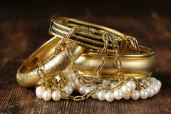 Gold and pearl jewelry Stock Photos