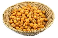 Gold peas, yellow peas in basket Stock Image