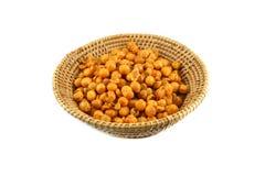 Gold peas, yellow peas in basket Stock Photo