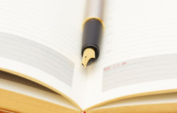 Gold pen on diary. Opened lined diary with a gold  pen inside Stock Photo