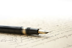 Free Gold Pen With Letter And Writing Stock Image - 12297981