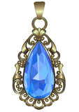 Gold pendant. With ornate pattern and sapphire Stock Photo