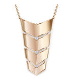 Gold pendant pendant vector. Golden shiny metal pendant amulet in the form of elegant curved trapezoids. Pendant on a gold chain decorated with beautiful Stock Photos