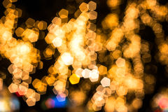 Gold pentagon bokeh Royalty Free Stock Image