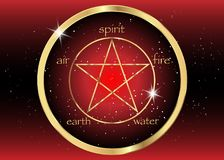 Gold Pentagram icon with five elements : Spirit , Air , Earth , Fire and Water. Golden Symbol of alchemy and sacred geometry. Vector Emblem in red galaxy Royalty Free Stock Images