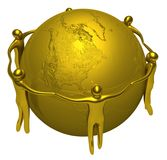 Gold people around of the Earth Royalty Free Stock Image