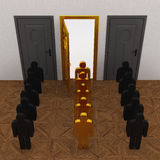 Gold People select door Royalty Free Stock Photos
