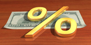 Gold percent. Symbol of the percent rests upon one hundred dollars Stock Images