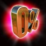 Gold 0 Percent Sign Vector Illustration