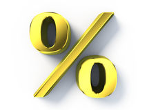 Gold percent sign Royalty Free Stock Images
