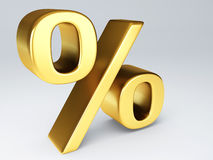 Gold percent sign 3d Stock Photos