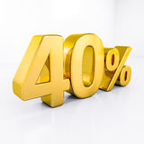 Gold Percent Sign. 40 Percent Discount 3d Sign on White Background, Special Offer 40% Discount Tag, Sale Up to 40 Percent Off, Sale Symbol, Special Offer Label Stock Images