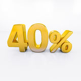 Gold Percent Sign. 40 Percent Discount 3d Sign on White Background, Special Offer 40% Discount Tag, Sale Up to 40 Percent Off, Sale Symbol, Special Offer Label Stock Photos