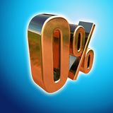 Gold 0 Percent Sign Royalty Free Stock Image