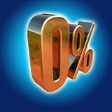 Gold 0 Percent Sign Stock Image
