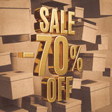 Gold Percent Sign. Gold 70 Percent Off Discount 3d Sign with Packaging Boxes Sale Banner Template, Special Offer 70% Off Discount Tag, Golden Sale Sticker, Gold Royalty Free Stock Photography