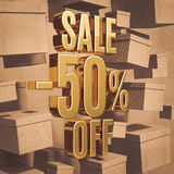 Gold Percent Sign. Gold 50 Percent Off Discount 3d Sign with Packaging Boxes Sale Banner Template, Special Offer 50% Off Discount Tag, Golden Sale Sticker, Gold Stock Photo