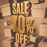 Gold Percent Sign. Gold 70 Percent Off Discount 3d Sign with Packaging Boxes Sale Banner Template, Special Offer 70% Off Discount Tag, Golden Sale Sticker, Gold Royalty Free Stock Image