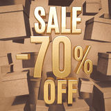 Gold Percent Sign. Gold 70 Percent Off Discount 3d Sign with Packaging Boxes Sale Banner Template, Special Offer 70% Off Discount Tag, Golden Sale Sticker, Gold Royalty Free Stock Photo