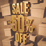 Gold Percent Sign. Gold 50 Percent Off Discount 3d Sign with Packaging Boxes Sale Banner Template, Special Offer 50% Off Discount Tag, Golden Sale Sticker, Gold Stock Photography