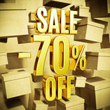 Gold Percent Sign. Gold 70 Percent Off Discount 3d Sign with Packaging Boxes Sale Banner Template, Special Offer 70% Off Discount Tag, Golden Sale Sticker, Gold Stock Photography