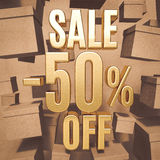 Gold Percent Sign. Gold 50 Percent Off Discount 3d Sign with Packaging Boxes Sale Banner Template, Special Offer 50% Off Discount Tag, Golden Sale Sticker, Gold Royalty Free Stock Photo