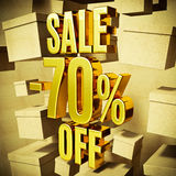 Gold Percent Sign. Gold 70 Percent Off Discount 3d Sign with Packaging Boxes Sale Banner Template, Special Offer 70% Off Discount Tag, Golden Sale Sticker, Gold Stock Photo