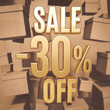 Gold Percent Sign. Gold 30 Percent Off Discount 3d Sign with Packaging Boxes Sale Banner Template, Special Offer 30% Off Discount Tag, Golden Sale Sticker, Gold Royalty Free Stock Photos