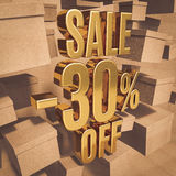 Gold Percent Sign. Gold 30 Percent Off Discount 3d Sign with Packaging Boxes Sale Banner Template, Special Offer 30% Off Discount Tag, Golden Sale Sticker, Gold Stock Photography