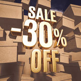 Gold Percent Sign. Gold 30 Percent Off Discount 3d Sign with Packaging Boxes Sale Banner Template, Special Offer 30% Off Discount Tag, Golden Sale Sticker, Gold Royalty Free Stock Images