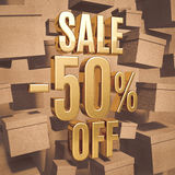 Gold Percent Sign. Gold 50 Percent Off Discount 3d Sign with Packaging Boxes Sale Banner Template, Special Offer 50% Off Discount Tag, Golden Sale Sticker, Gold Royalty Free Stock Image