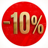 Gold 10 Percent Sign on Red. Gold 10 Percent Sign on Shabby Red Circle with Shadow, 10% Off Hot Deal and Save Money Sign, Special Offer Banner, Price Tag, -10% Royalty Free Stock Photography