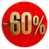 Gold 60 Percent Sign on Red. Gold 60 Percent Sign on Shabby Red Circle with Shadow, 60% Off Hot Deal and Save Money Sign, Special Offer Banner, Price Tag, -60% Royalty Free Illustration