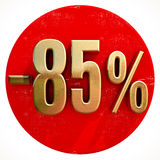 Gold 85 Percent Sign on Red. Gold 85 Percent Sign on Shabby Red Circle with Shadow, 85% Off Hot Deal and Save Money Sign, Special Offer Banner, Price Tag, -85% royalty free illustration
